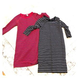 TWO Merona Sz Small Long Sleeve Tee Shirt Dresses